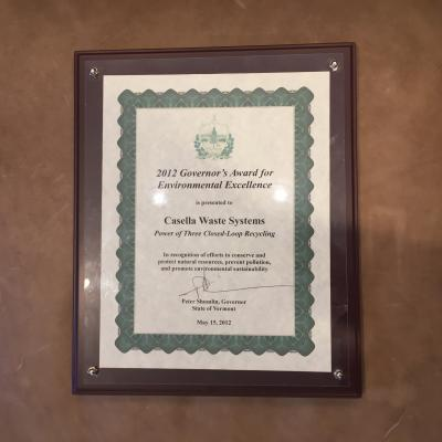 governor's award certificate