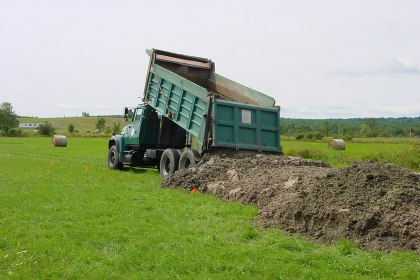 dump truck dropping material